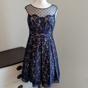 Eliza J. Formal blue lace gown